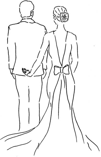 Line Drawing Wedding Couple : Just married couple coloring page wedding stuff
