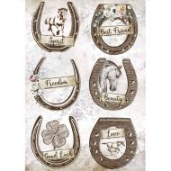A4 Rice paper packed - Romantic Horses horseshoes by Stamperia (DFSA4583)
