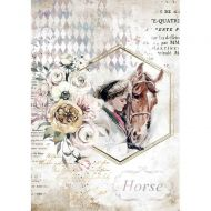 A4 Rice paper packed - Romantic Horses lady frame by Stamperia (DFSA4580)