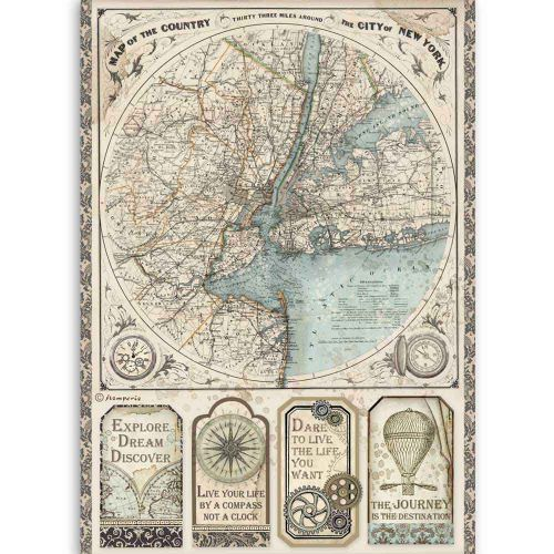 A4 Rice paper packed Sir Vagabond map of New York Stamperia (DFSA4515)