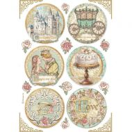 A4 Rice paper packed - Sleeping Beauty rounds by Stamperia (DFSA4576)
