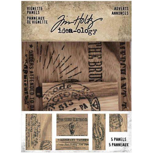 Adverts Wooden Vignette Panels 5 Pk Tim Holtz Idea-Ology (TH94124)