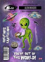 Alien Invader stamp set by Visible Image