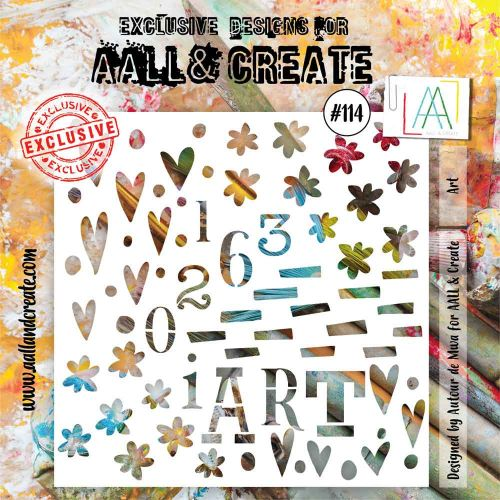 Art (No. 114) 6 inch by 6 inch sized stencil by Autour de Mwa for Aall and Create (AAL10114)