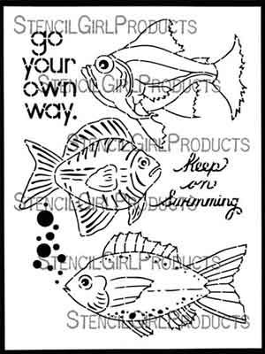 Boho Fish designed by Gwen Lafleur for Stencil Girl (9 inch by 12 inch)