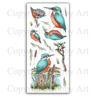 CS134D Kingfishers Hobby Art Clear Stamp Set