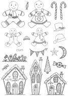 CS179D Hobby Art Stamps - Gingerbread Christmas - Janie