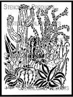 Cactus Garden Stencil (L861) designed by Shel C for StencilGirl 9 inch by 12 inch
