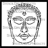 Chinese Garden Buddha Mini designed by Gwen Lafleur for Stencil Girl (4 inch by 4 inch)