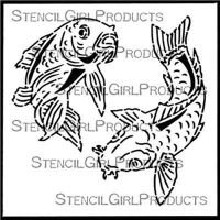 Chinese Garden - Koi (S711) designed by Gwen Lafleur for Stencil Girl (6 inch by 6 inch)