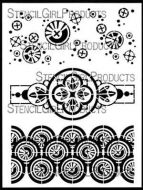 Collage Textures and Patterns, Circles designed by Gwen Lafleur for Stencil Girl (9 inch by 12 inch)