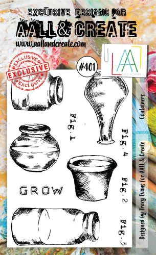 Containers (No. 401) A6 sized stamp by Tracy Evans for Aall and Create (AAL00401)