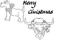 Christmas Set - XM1M (Tartan Scottie, MC, Highland cow)