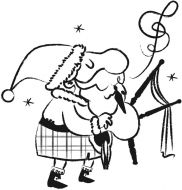 Crafty Stamps - Large Santa with bagpipes - XM139F