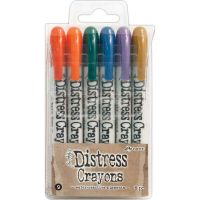 Tim Holtz Distress Crayon Set Number 9 (Barn Door, Ripe Persimmon, Pine Needles, Faded Jeans, Dusty Concord, Brushed Corduroy)