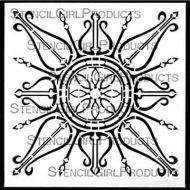 Decorative Curvy Ornament Stencil designed by Gwen Lafleur for Stencil Girl (6 inch by 6 inch)
