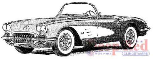 Classic Corvette - Deep Red Cling Stamp