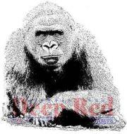 Gorilla - Deep Red Cling Stamp