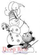 Snowman Garland - Deep Red Cling Stamp