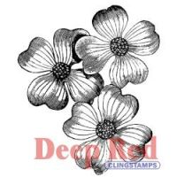 Dogwood Flowers - Deep Red Cling Stamp