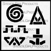 Earth Song Symbols 1 Stencil (M066) designed by Roxanne Evans Stout for StencilGirl (4 inch by 4 inch)