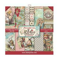 Alice in Worderland Extra small Pad 10 sheets - 15.2cm x 15.2cm by Stamperia (SBBXS03)