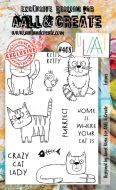 Felines (No. 408) A6 sized stamp by Janet Klein for Aall and Create (AAL00408)