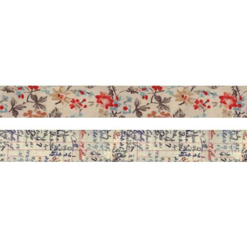 Floral Linen Tape 1 inch by 3 yards 2 Pack Tim Holtz Idea-ology (TH94139)