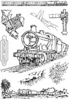 Full Steam Ahead A5 Clear Stamp Stamp Set by Hobby Art (CS313D)