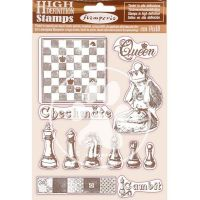 HD Natural Rubber Stamp 14x18 cm - Alice checkmate by Stamperia (WTKCC204)