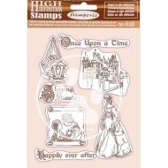 HD Natural Rubber Stamp 14x18 cm - Sleeping Beauty Once Upon a Time by Stamperia (WTKCC201)