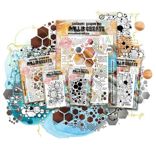 Hexagon Set  - Aall and Create (stencils 108, 112 and stamps 374, 383, 384)