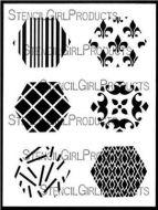 Hexagons Mini Printmaking Set No. 1 9 inch by 12 inch Stencil (L698) by Ann Butler for StencilGirl