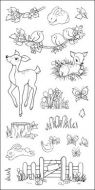 CS046D Hobby Art Stamps-Fawn & Flora