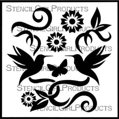 Hummingbird Bouquet 6 inch by 6 inch Stencil (S852) by Darlene Olivia McElroy for StencilGirl