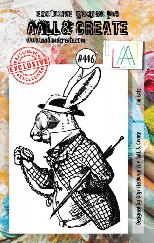 Im Late No. 446 Aall and Create A7 sized stamp by Olga Heldwein (AAL00446)