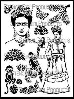 Inspired by Frida 9 inch by 12 inch Stencil (L620) by June Pfaff Daley for StencilGirl