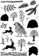 CS216D - Hobby Art Stamps - Janies Collection Lino Cut Christmas