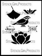 Keep Still Stencil (L638) designed by Roxanne Evans Stout for StencilGirl (12 inch by 12 inch)
