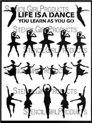 Learning to Dance designed by Carolyn Dube for Stencil Girl (9 inch by 12 inch)