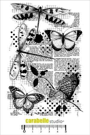 Libellules et Papillons - Carabelle Studio a6 cling rubber stamp (SA60096)