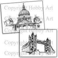 London Set Grey Rubber Stamp Stamp Set by Hobby Art (FMSPTB)