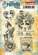 Lynne Perrella A5 size PaperArtsy Cling Rubber Stamp Set (No. 47) - LPC047