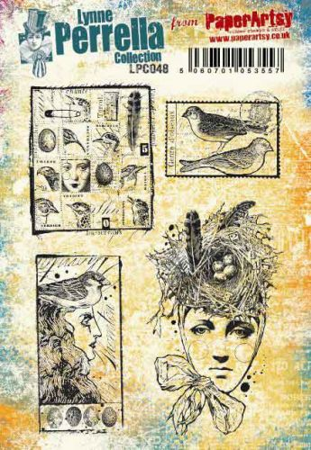 Lynne Perrella A5 size PaperArtsy Cling Rubber Stamp Set (No. 48) - LPC048