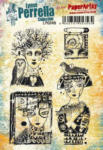 Lynne Perrella A5 size PaperArtsy Cling Rubber Stamp Set (No. 49) - LPC049