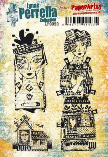 Lynne Perrella A5 size PaperArtsy Cling Rubber Stamp Set (No. 50) - LPC050
