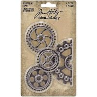 """Metal Industrial Gears Tim Holtz Idea-Ology 1.5inch to 3 inch"""" 4 Pack Antique Nickel (TH94142)"""