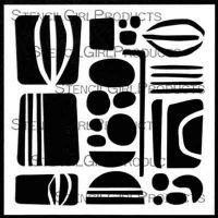 Mid Century Modern Rocks (S586) and Leaves designed by Jennifer Evans for Stencil Girl (6 inch by 6 inch)