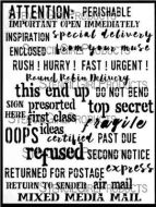 Mixed Media Mail Stencil designed by Carolyn Dube for Stencil Girl (9 inch by 12 inch)