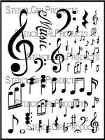 Music Notations Stencil designed by Valerie Sjodin for Stencil Girl (9 inch by 12 inch)